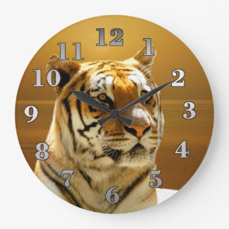 Golden Tiger Large Clock