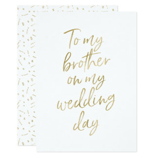 "Golden ""To my brother on my wedding day"" Card"