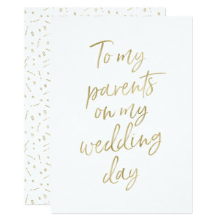 "Golden ""To my parents on my wedding day"" Card"