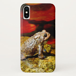 Golden Toad with Red Lily Pads phone cover