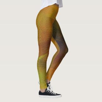 Golden Tones Digital Layered Art Leggings