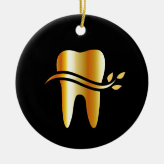 Golden Tooth with leaves Ceramic Ornament