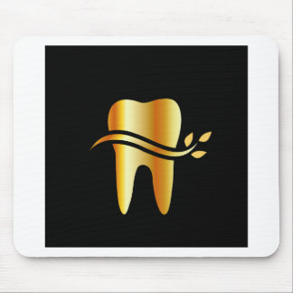 Golden Tooth with leaves Mouse Pad