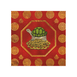 Golden Tortoise / Turtle Feng Shui  with coins Wood Print