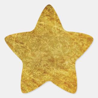 GOLDEN TREASURE GRUNGE FLORAL BACKGROUNDS TEMPLATE STAR STICKER
