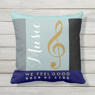 golden treble clef note, wonderful music cushion