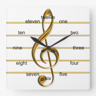 Golden Treble Clef Square Wall Clock