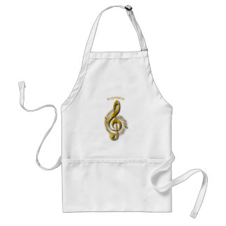 Golden Treble Clef With Notes And Shadows Standard Apron