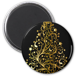 Golden tree design 6 cm round magnet