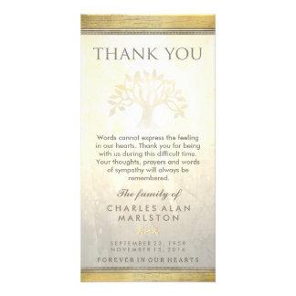 Golden Tree Sympathy Thank You Card Custom Photo Card