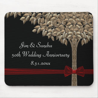 Golden Tree With Red Ribbon & Bow Mouse Pad
