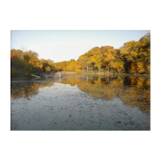Golden Trees and Pond Acrylic Wall Art