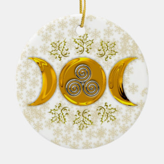 Golden Triple Moon & Silver Triple Spiral w/ Holly Ceramic Ornament