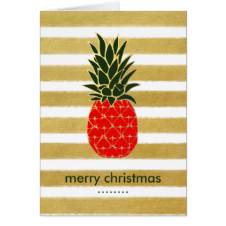 Golden Tropical Christmas Pineapple Wishes Card