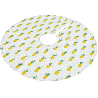 Golden Tropical Pineapples | Monogram Brushed Polyester Tree Skirt