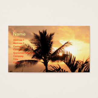 Golden Tropical Sunset and Palm Tree Business Card