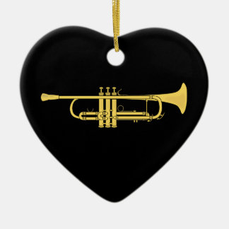 Golden Trumpet Music Theme Ceramic Ornament