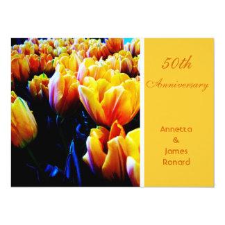 Golden tulip flowers 50th anniversary invitation announcements