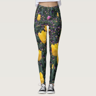 Golden Tulips and Two-toned Pansies on Leggings