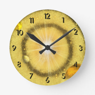 Golden Universe Round Clock