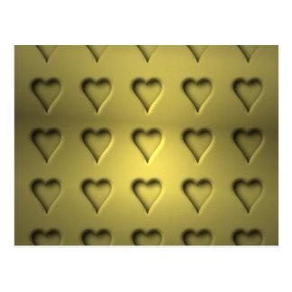 Golden Valentine Hearts Postcard