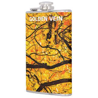 Golden Veins Of Autumn Hip Flask