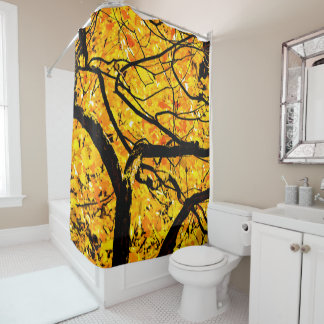 Golden Veins Of Autumn Shower Curtain