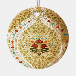 Golden Venetian damask Ceramic Ornament