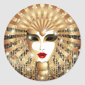 Golden Venice Carnival Party Mask Classic Round Sticker