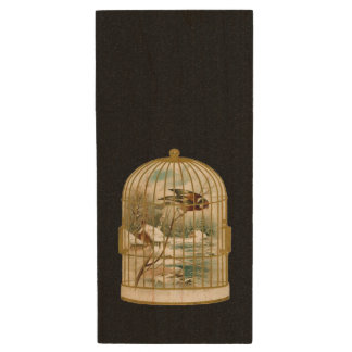 Golden Vintage Bird Cage Winter Scene Wood USB 2.0 Flash Drive