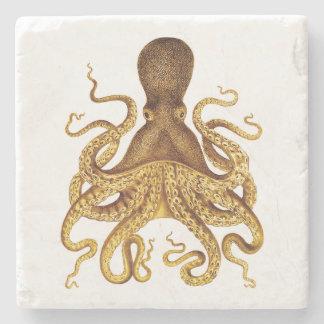 Golden Vintage Octopus Illustration Stone Beverage Coaster