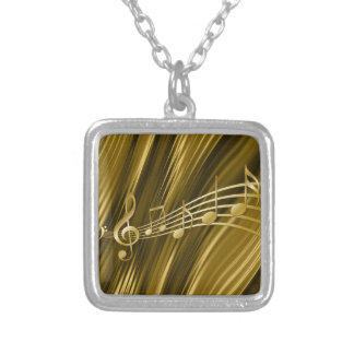 Golden violin key silver plated necklace