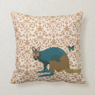 Golden Wally Wallaby Butterfly Damask Mojo Pill Throw Pillows