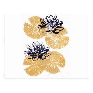 Golden Water lilies Postcard