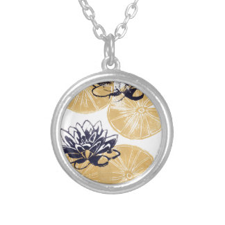 Golden Water lilies Silver Plated Necklace