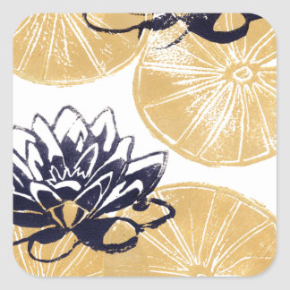 Golden Water lilies Square Sticker