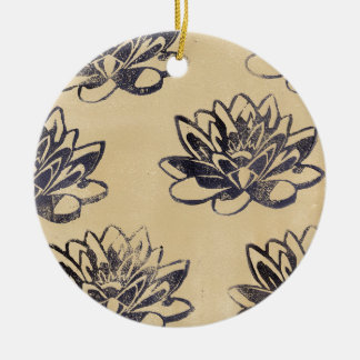 Golden Water Lilies two Ceramic Ornament