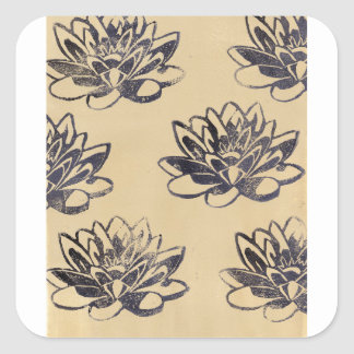 Golden Water Lilies two Square Sticker