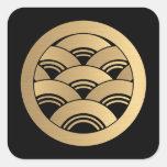 Golden Waves Japanese Kamon Square Sticker