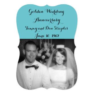 Golden Wedding Anniversary #3 Color 6DC5D0 Card