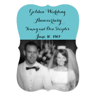 Golden Wedding Anniversary #3 Color 6DC5D0 Card