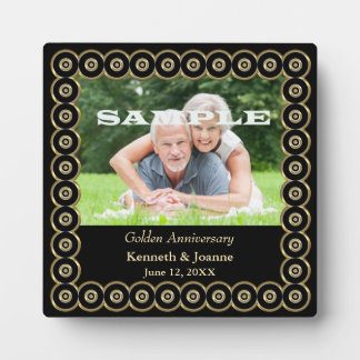 Golden Wedding Anniversary Circle Frame Template Plaque