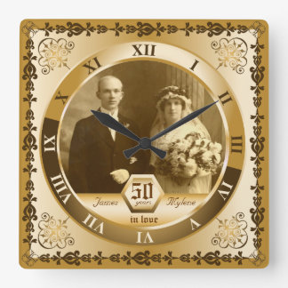 Golden Wedding Anniversary Custom Photo Ornate Clock