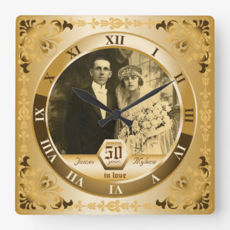 Golden Wedding Anniversary Customizable Photo Gift Square Wall Clock