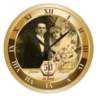 Golden Wedding Anniversary Customizable Photo Gift Wallclock