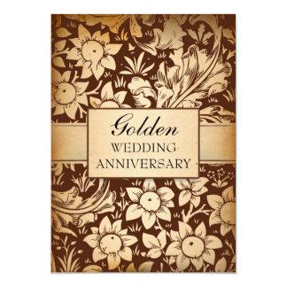 "golden wedding anniversary damask invitations 5"" x 7"" invitation card"