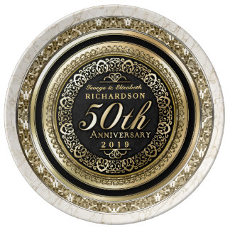 Golden Wedding Anniversary Faux Gold Black Marble Porcelain Plate