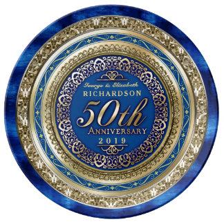 Golden Wedding Anniversary Faux Gold Royal Blue Porcelain Plates