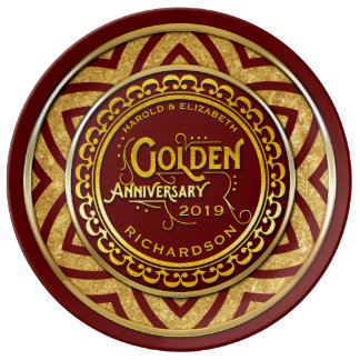 Golden Wedding Anniversary Gold Glitter Deep Red Plate