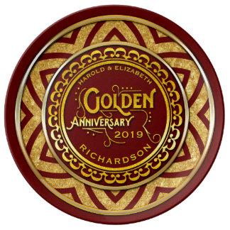 Golden Wedding Anniversary Gold Glitter Deep Red Porcelain Plates